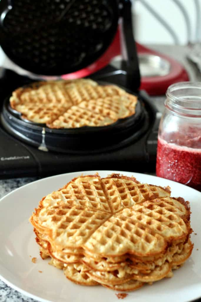 Stack of whole wheat norwegian waffles