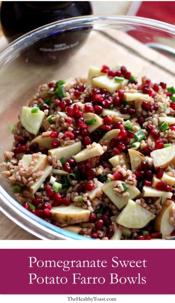 Pomegranate sweet potato farro bowls pinterest image