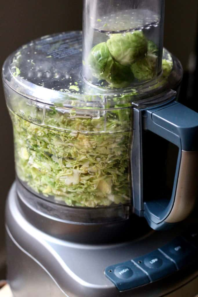 Shredding brussels sprouts in food processor