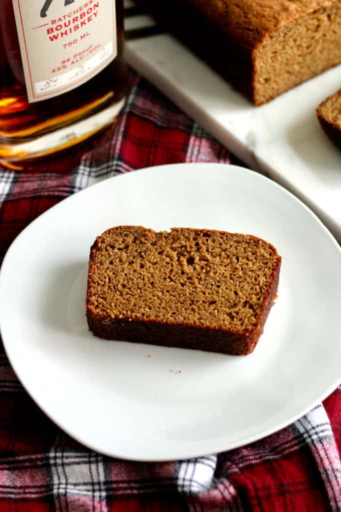 Slice of whole wheat bourbon banana bread