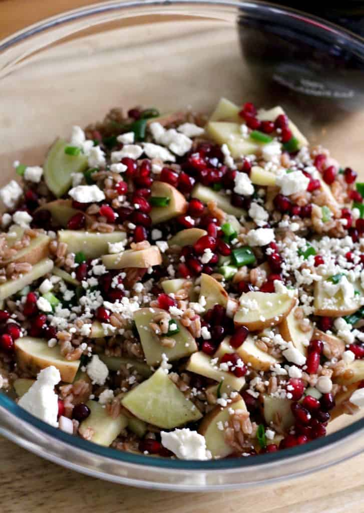 Healthy pomegranate sweet potato salad with feta