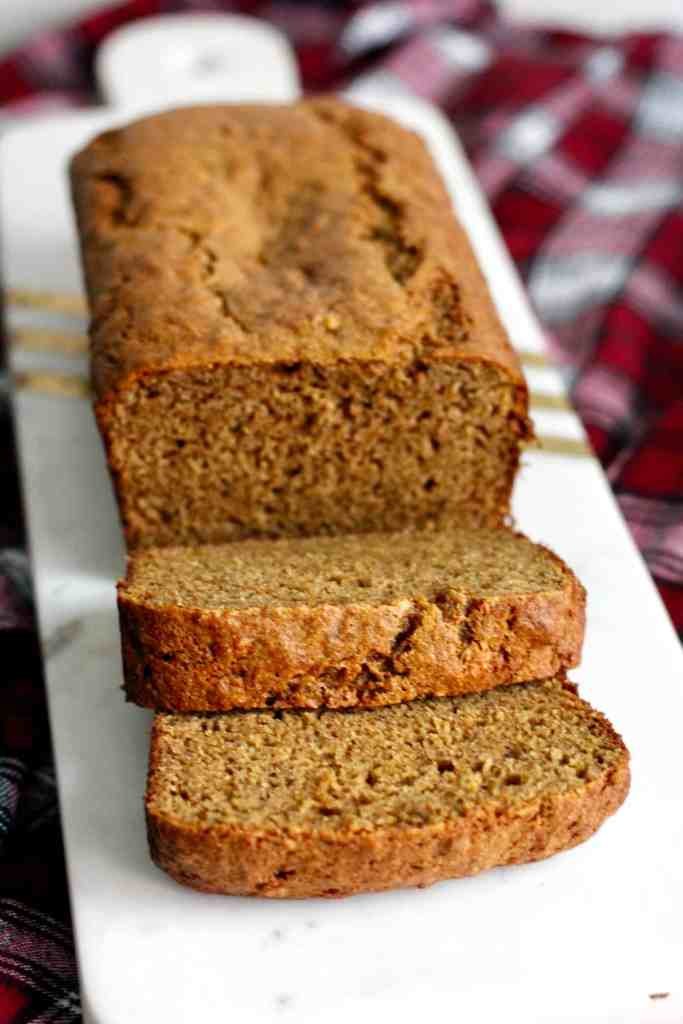 Whole wheat bourbon banana bread sliced