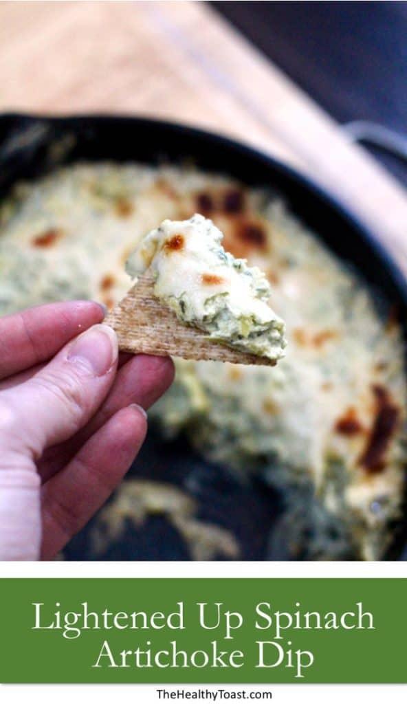 Lightened up spinach artichoke dip pinterest image