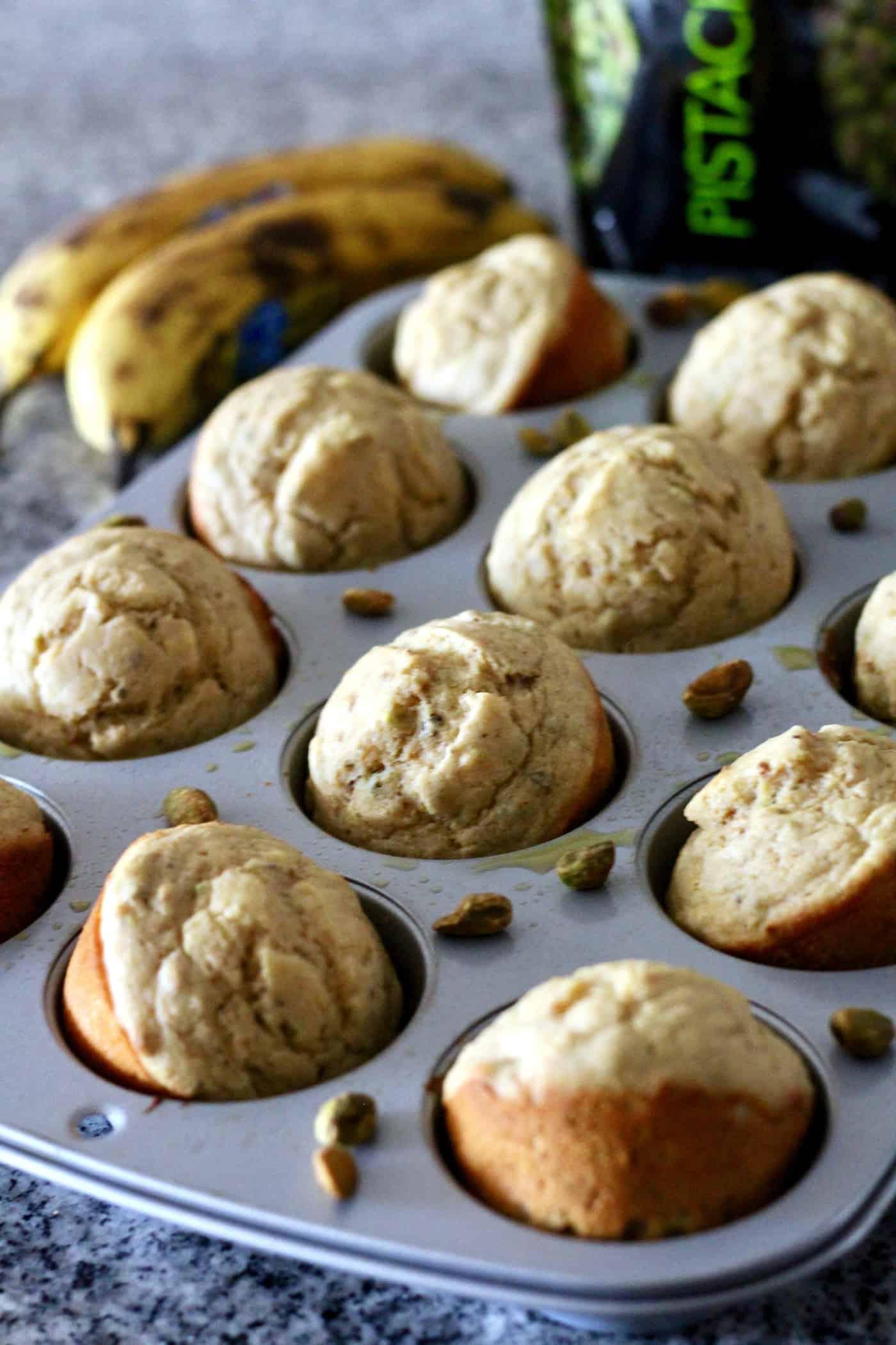 Whole Wheat Banana Pistachio Muffins