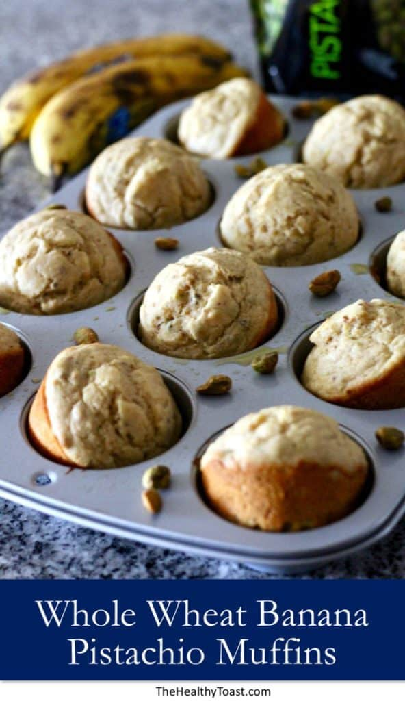 Whole wheat banana pistachio muffins pinterest image
