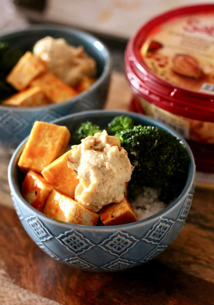 Buffalo Tofu Bowls with Caramelized Onion Hummus