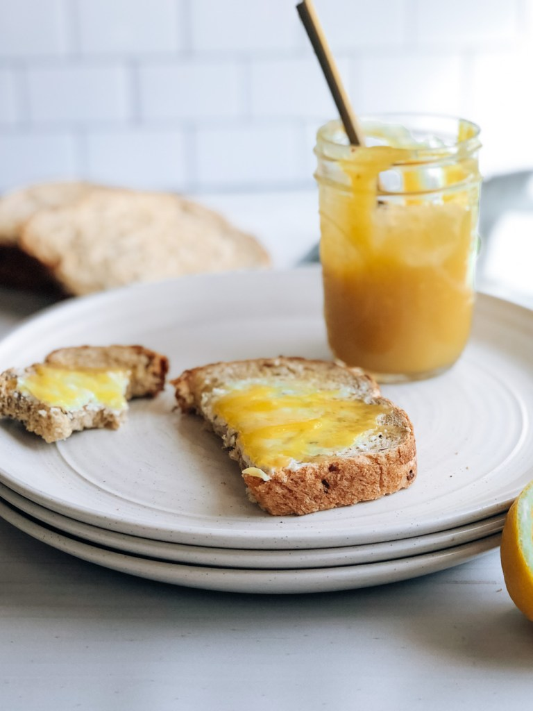 Small batch lemon curd with toast