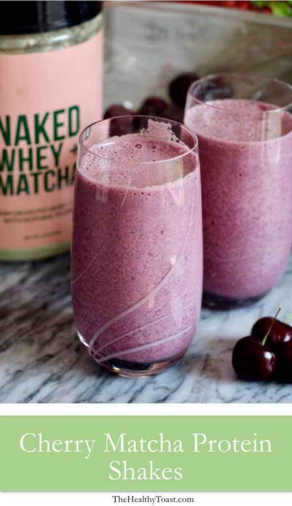 Cherry Matcha Protein Shake Pinterest image