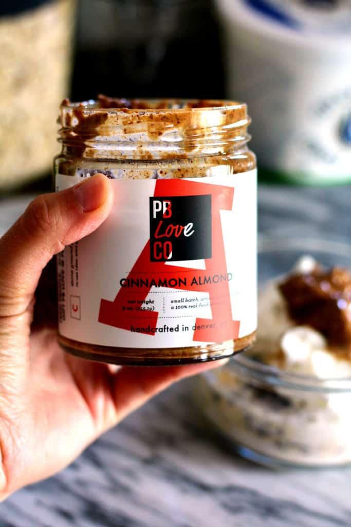 Jar of PB Love Co Cinnamon Almond Butter