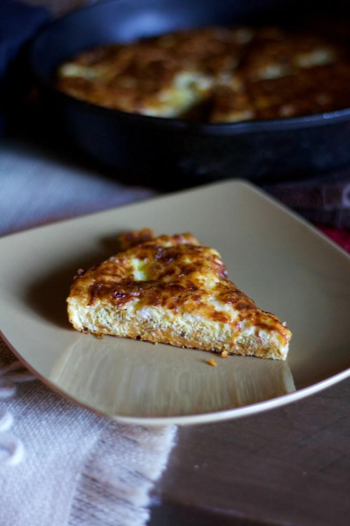 Slice of sweet potato frittata