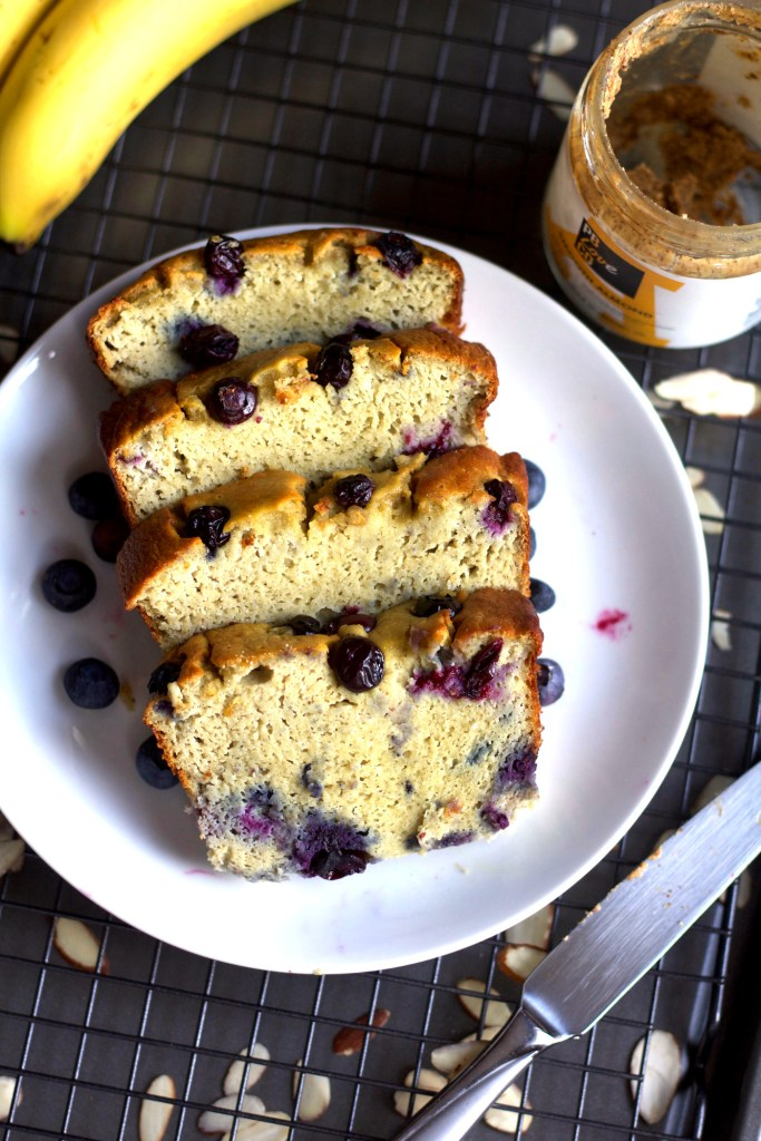 Slices of Almond flour blueberry banana bread