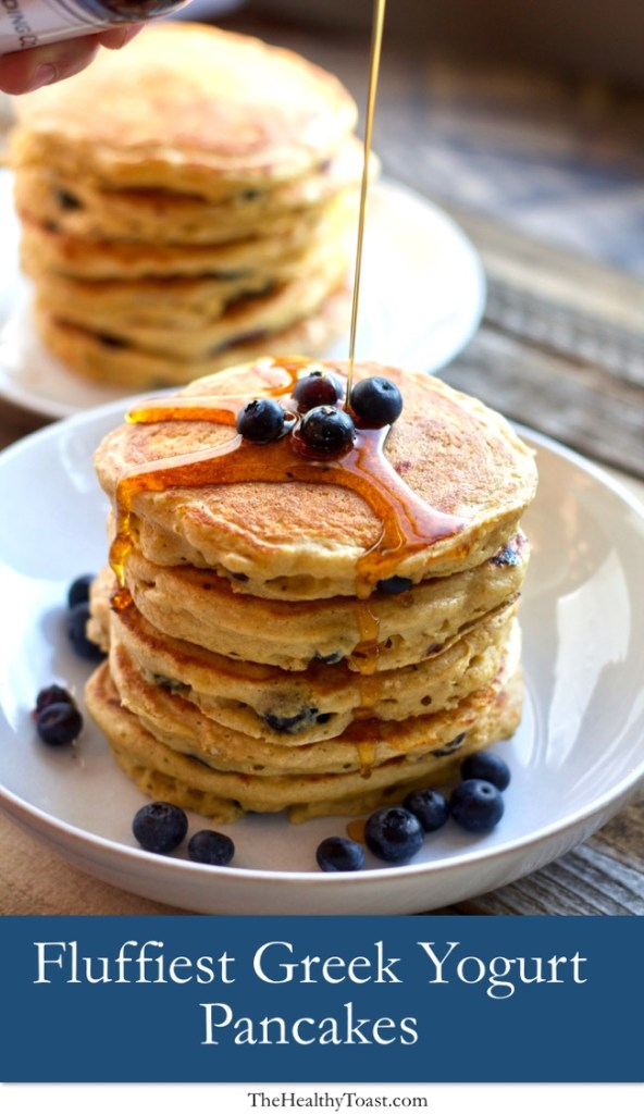 Stack of super fluffy greek yogurt and blueberry pancakes Pinterest Image