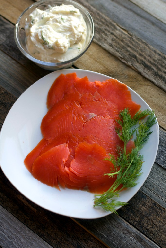 Smoked salmon with fresh dill and herbed ricotta
