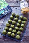 Tray of matcha bliss balls