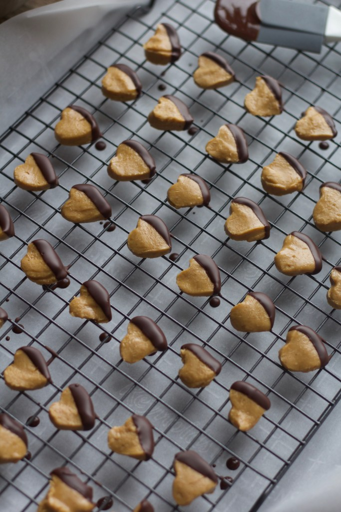 Tray of chocolate dipped peanut butter hearts
