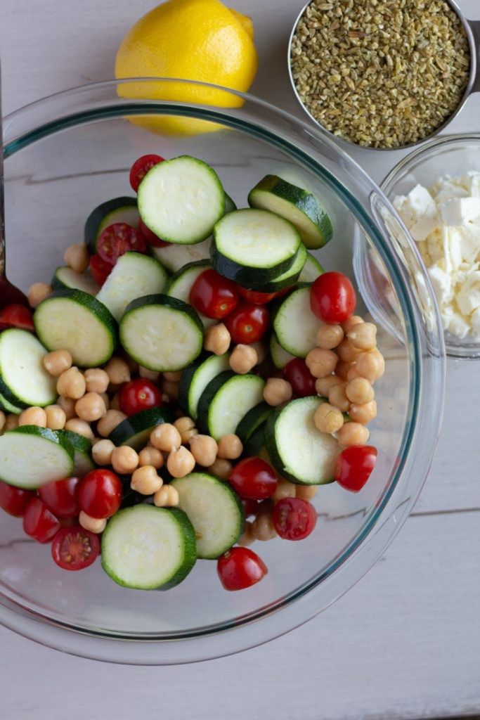 Ingredients for Mediterranean Grain Bowl with Freekeh and Roasted Chickpeas