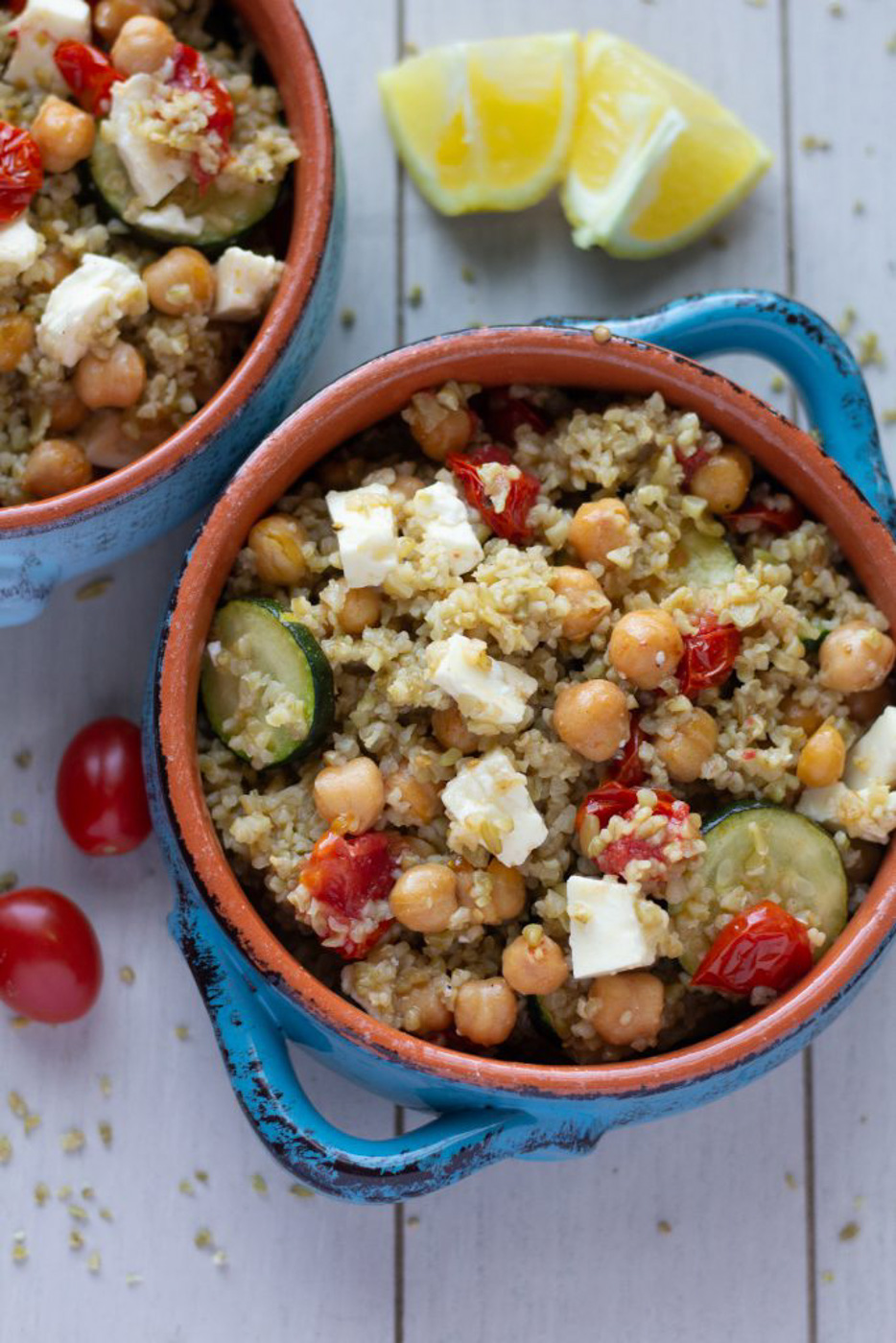 Addicting Mediterranean Grain Bowl with Freekeh and Roasted Chickpeas