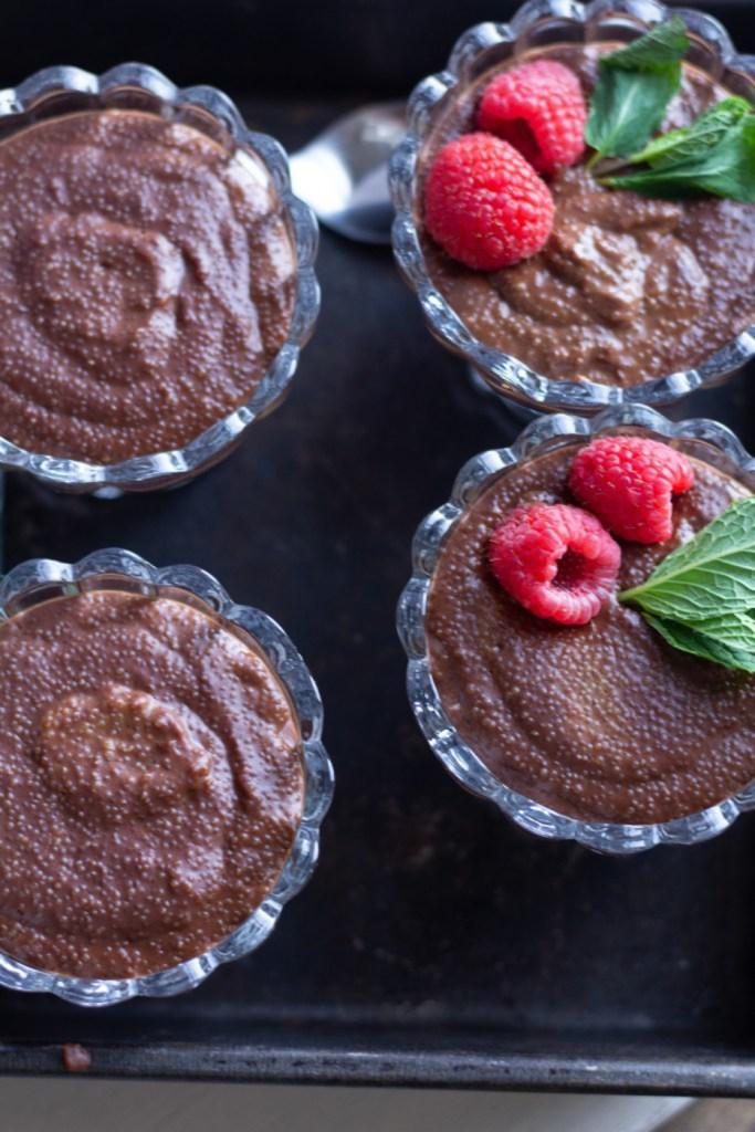 Tray of dark chocolate amaranth puddings