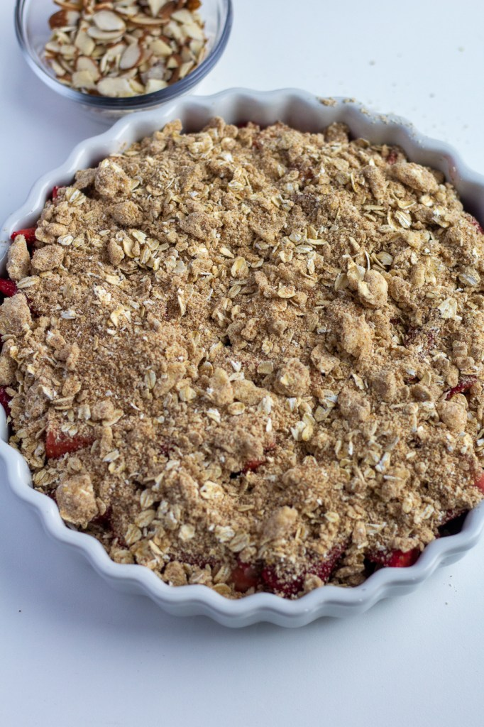 Assembled healthier strawberry rhubarb crisp