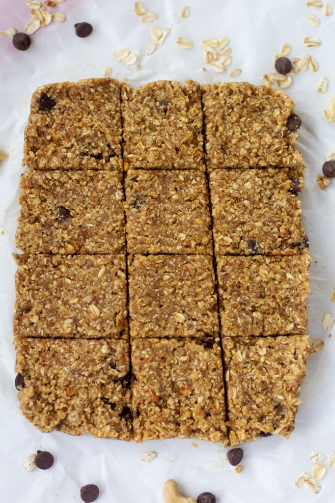 Sliced healthy flax seed and peanut butter energy bars
