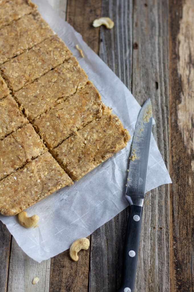 Sliced homemade vegan peanut butter protein bars