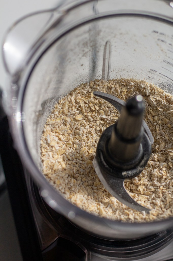 Pulsed oats in food processor