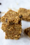Healthy flax seed and peanut butter energy bars stacked