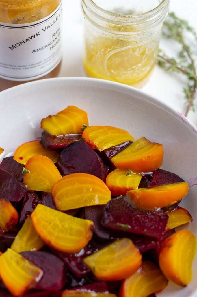 Sliced beets drizzled with honey lemon dressing