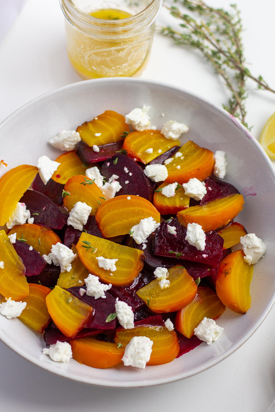 Roasted Beet and Goat Cheese Salad with Honey Lemon Dressing