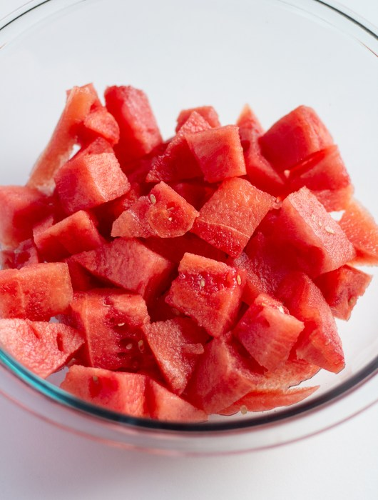 Bowl of sliced watermelon