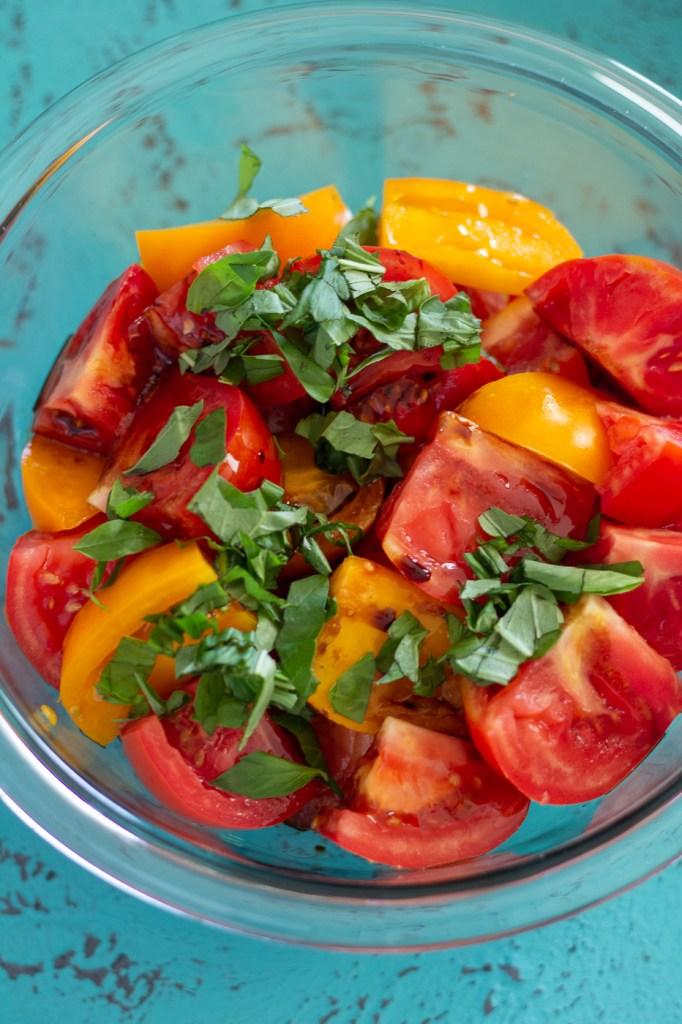 Simple Heirloom Tomato and Burrata Salad