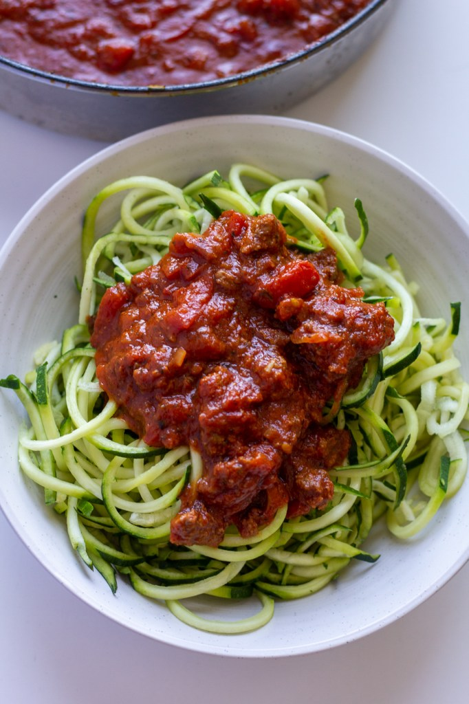 Healthy homemade meat sauce over zucchini noodles