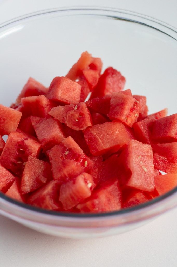 Bowl of chopped watermelon
