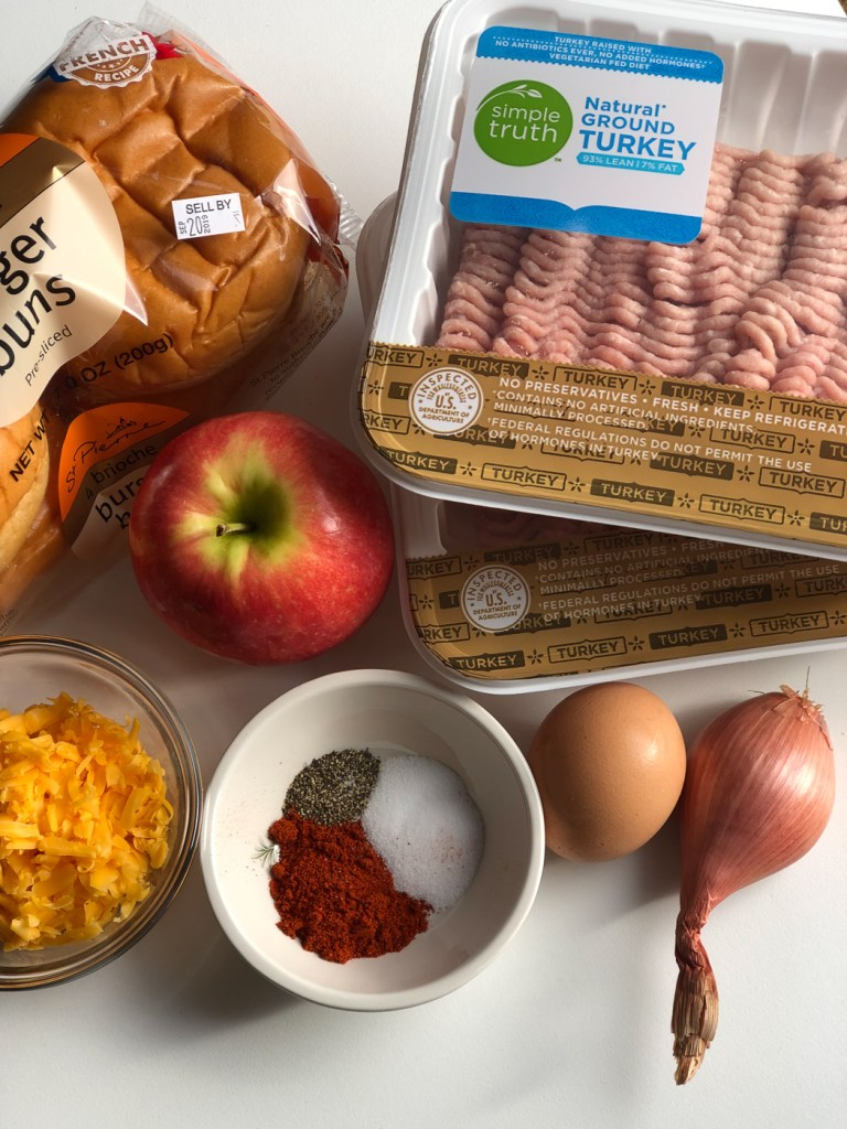 Ingredients for apple cheddar turkey burger