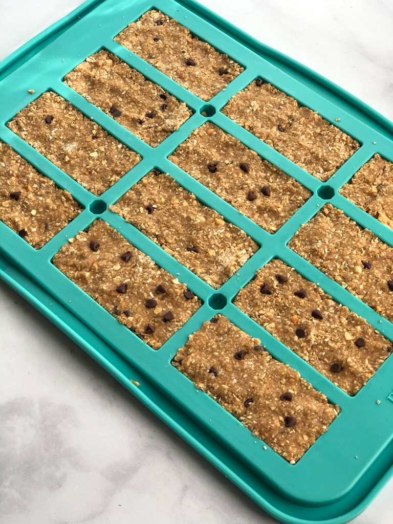 PB Cookie Dough Protein Bars in pampered chef's granola bar pan
