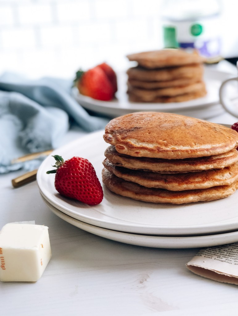 Stack of whole wheat sourdough starter pancakes
