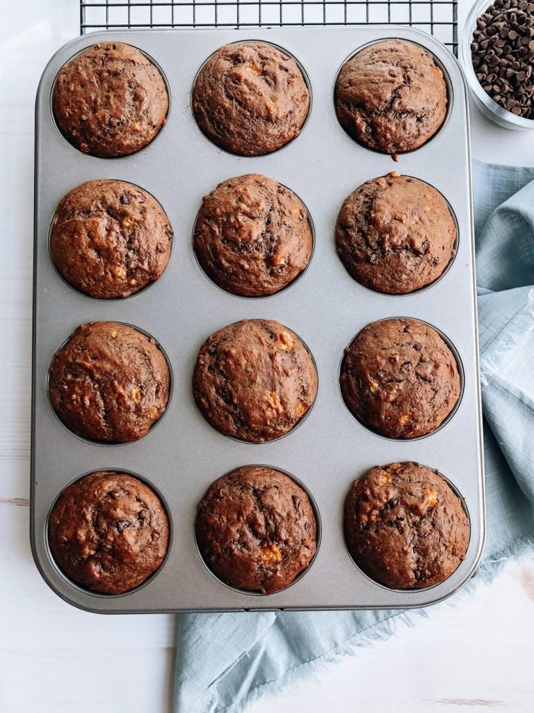 One Bowl Vegan Chocolate Banana Muffins