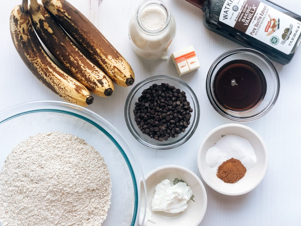 Ingredients for healthy banana chocolate chip muffins
