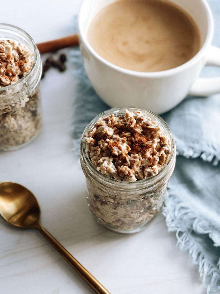Jar of healthy chai overnight oats