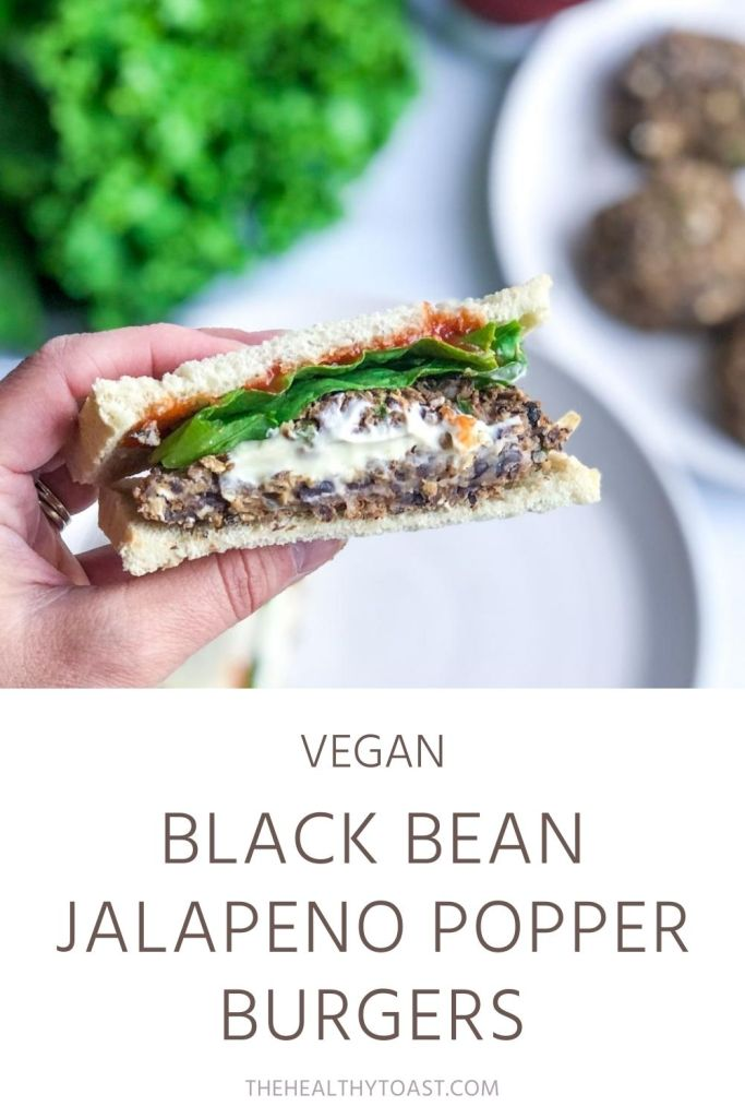 Vegan Black Bean Jalapeno Popper Burger PInterest Image