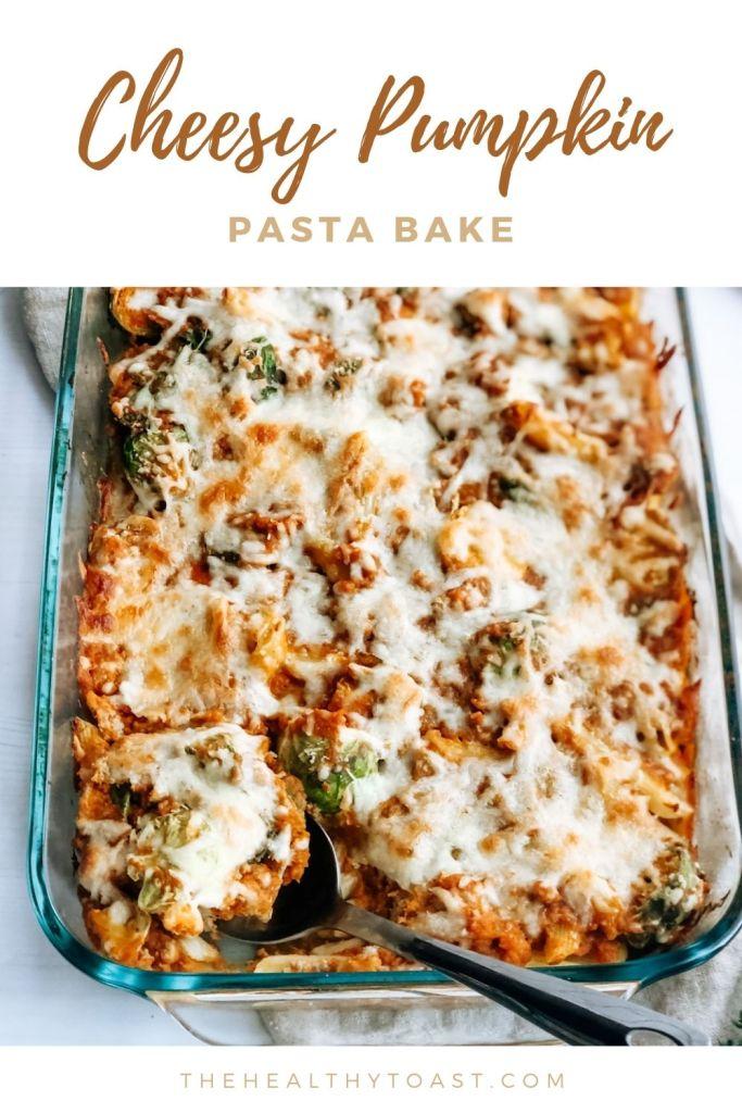 Cheesy pumpkin pasta bake pinterest image