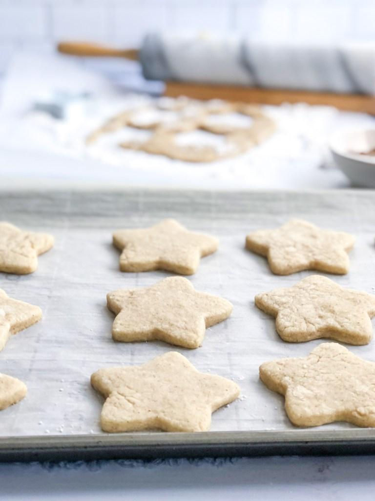 Baked sugar cookies on baking sheet
