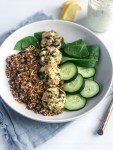 Meal prep bowls with greek turkey meatballs