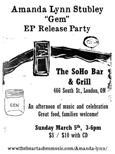 Gem EP Release poster Soho Bar 466 South St. 5 March