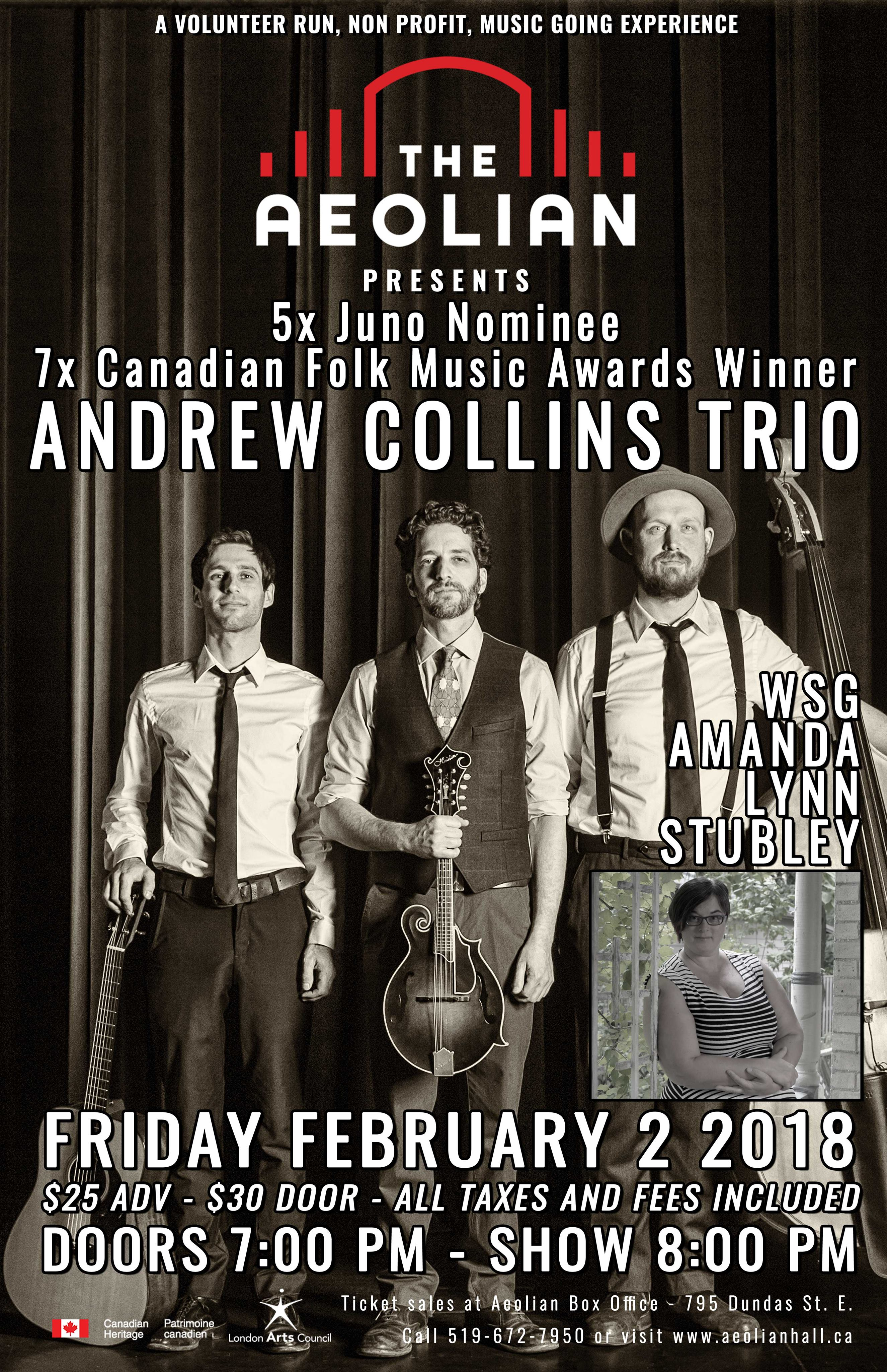 Andrew Collins Trio with special guest Amanda Lynn Stubley at Aeolian Hall Feb 2 2018