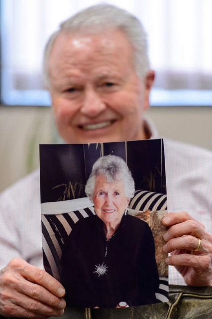 Pat King with a photo of his mother, Geraldine