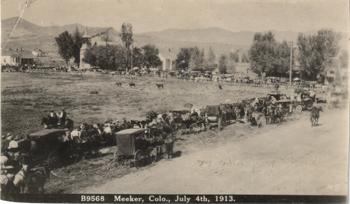 This scene from 1913 shows the site of the current Meeker Elementary School when it was an open field. The school was built in 1939. The town will hear presentations Oct. 6 about the future use of the site. Some area residents would like to see the school building restored and used for another purpose or return the site to an open space for community events.