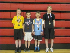 courtesy photo Meeker winners in last weekend's sectional of the Denver Nuggets Skills Challenge at Grand Junction were, from left: Maggie Phelan, girls' 9-10; Wyatt Pfau, boys' 9-10; Chris Scherbarth, boys' 7-8; and Kaylee Turner, girls' 11-12. The winners compete March 20 at the state competition in Denver. Meeker's Jake Phelan was third in boys' 11-12 and Zane Pfau competed in boys' 13-14.