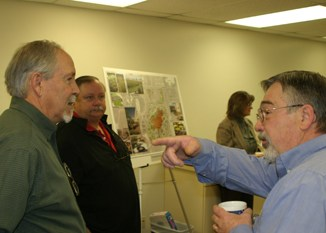 Rangely Hospital representatives, from left, Jack Rich (board chairman), Bernie Rice (compliance officer) and Jim Dillon (chief financial officer) participated in the public presentations about plans to build a new hospital.