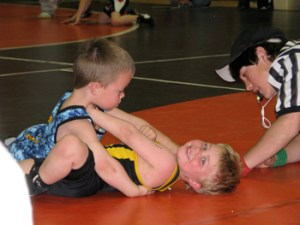 Cade Blunt of Meeker was all smiles, even on his back.
